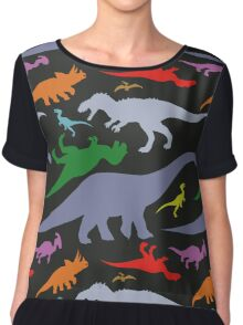 Colorful Dinosaurs Pattern (Dark) Chiffon Top