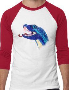 Blue Snake Head Men's Baseball ¾ T-Shirt