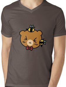 Bumble Bee bear Face Mens V-Neck T-Shirt