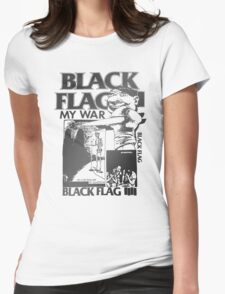 Retro Punk Restyling   - Black Flag silver Womens Fitted T-Shirt
