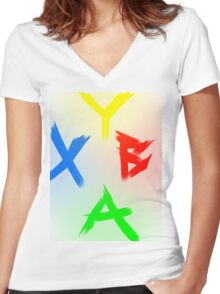 Xbox 360 Shaded Women's Fitted V-Neck T-Shirt