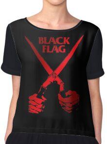 Retro Punk Restyling   - Black Flag red scissors Chiffon Top