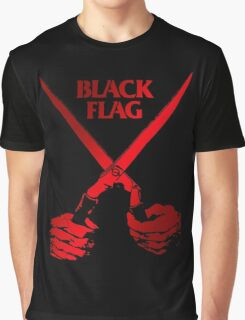 Retro Punk Restyling   - Black Flag red scissors Graphic T-Shirt