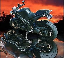 Motorcycle sunset by amanda metalcat dodds