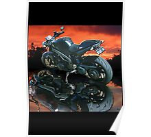Motorcycle sunset Poster