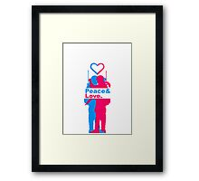 peace love couple love Kiss woman girl man boy Framed Print