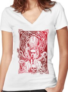 Cthulhu Howard Phillips Lovecraft HP historical society Women's Fitted V-Neck T-Shirt