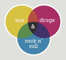 Sex, drugs and Rock n' Roll Venn Diagram T-Shirt