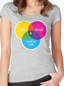 Sex, drugs and Rock n' Roll Venn Diagram Women's Fitted Scoop T-Shirt