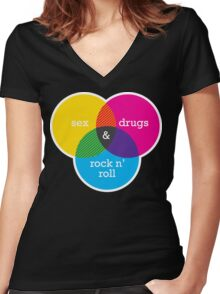 Sex, drugs and Rock n' Roll Venn Diagram Women's Fitted V-Neck T-Shirt