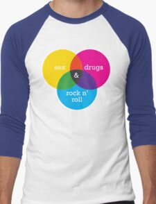 Sex, drugs and Rock n' Roll Venn Diagram Men's Baseball ¾ T-Shirt