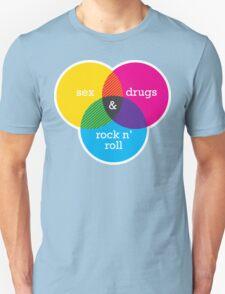 Sex, drugs and Rock n' Roll Venn Diagram Unisex T-Shirt