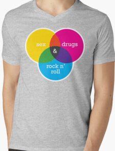 Sex, drugs and Rock n' Roll Venn Diagram Mens V-Neck T-Shirt