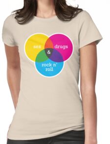 Sex, drugs and Rock n' Roll Venn Diagram Womens Fitted T-Shirt