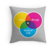 Sex, drugs and Rock n' Roll Venn Diagram Throw Pillow
