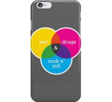 Sex, drugs and Rock n' Roll Venn Diagram iPhone Case/Skin