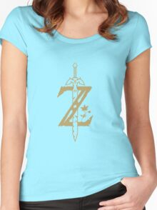 "Gold ""Z"" logo (The Legend of Zelda Breath of the Wild) Women's Fitted Scoop T-Shirt"