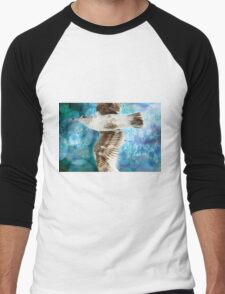 Gull with Watercolor Background Men's Baseball ¾ T-Shirt