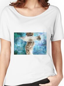 Gull with Watercolor Background Women's Relaxed Fit T-Shirt
