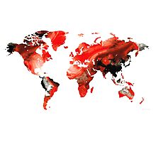 Map of The World 10 -Colorful Abstract Art Photographic Print