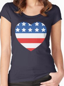 USA Heart Flag Women's Fitted Scoop T-Shirt