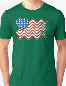 Wavy America Heart Flag T-Shirt