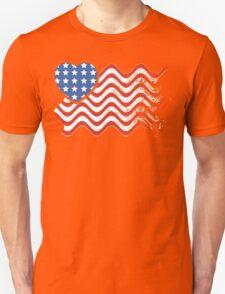 Wavy America Heart Flag T-Shirt