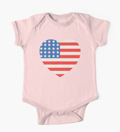 America Flag Heart 4th Of July One Piece - Short Sleeve