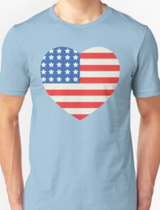 America Flag Heart 4th Of July T-Shirt
