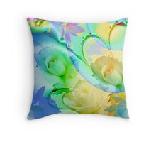 Artistic watercolor roses, leaves on an Abstract background Throw Pillow