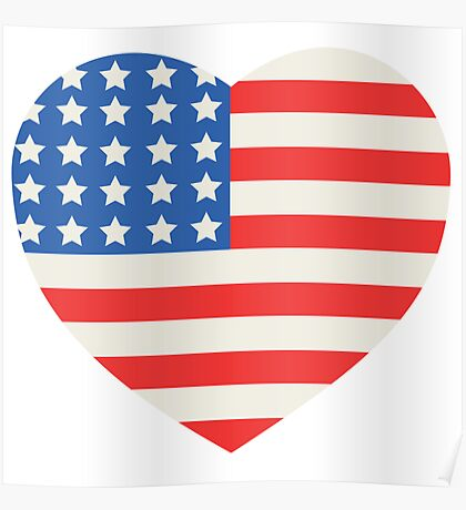America Flag Heart 4th Of July Poster