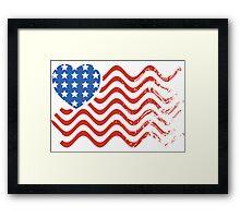 Wavy America Heart Flag Framed Print