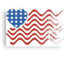Wavy America Heart Flag Canvas Print