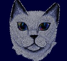 Pixel Cat Blue by amanda metalcat