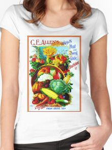 """C. E. ALLEN"" Vintage Plant & Seed Guide Print Women's Fitted Scoop T-Shirt"