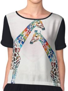 Colorful Giraffe Art - I've Got Your Back - By Sharon Cummings Chiffon Top