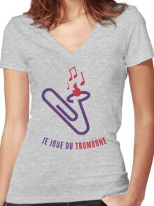 "Je joue du ""trombone"" Women's Fitted V-Neck T-Shirt"
