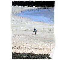 Galapagos Beach Kid Watercolor Poster