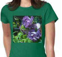 Sunlit Blue Floribunda Roses Womens Fitted T-Shirt