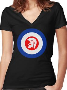 TROJAN MOD RECORDS Women's Fitted V-Neck T-Shirt