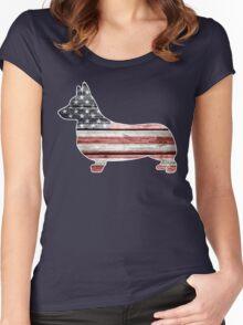 Patriotic Corgi Women's Fitted Scoop T-Shirt
