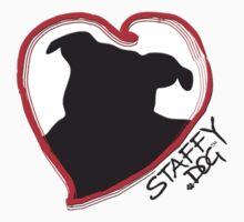 Staffy Dog in Heart by amanda metalcat