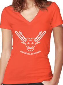 Grab The Bull By The Horns (White) Women's Fitted V-Neck T-Shirt