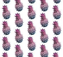 Pink Purple and Blue Pineapple by ValeriesGallery