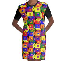 Colored Cubes Graphic T-Shirt Dress
