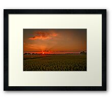 A lovely sunset landscape over Dusseldorf, Germany  Framed Print