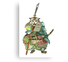 A Halfing Samurai Cat with a Spear and 2 Swords Canvas Print