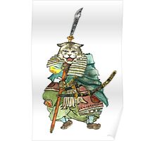 A Halfing Samurai Cat with a Spear and 2 Swords Poster