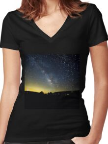 Milky Way over Ventura County, CA, USA Women's Fitted V-Neck T-Shirt