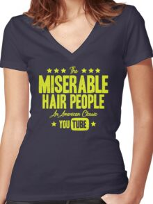 Miserable Hair People | Vintage Women's Fitted V-Neck T-Shirt